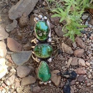 Navajo Sonoran Gold Turquoise & Sterling Ring 5.75